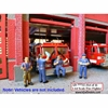 Fire Fighter Metal Figures Set of 4 (1:64) (Blue)