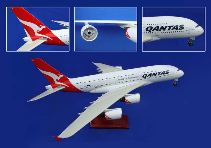 Qantas A380 With Wood Stand & Gear (1:100)