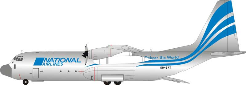 National Airlines Lockheed L-100-30 Hercules (L-382G) S9-BAT (1:200)  - Preorder item, order now for future delivery