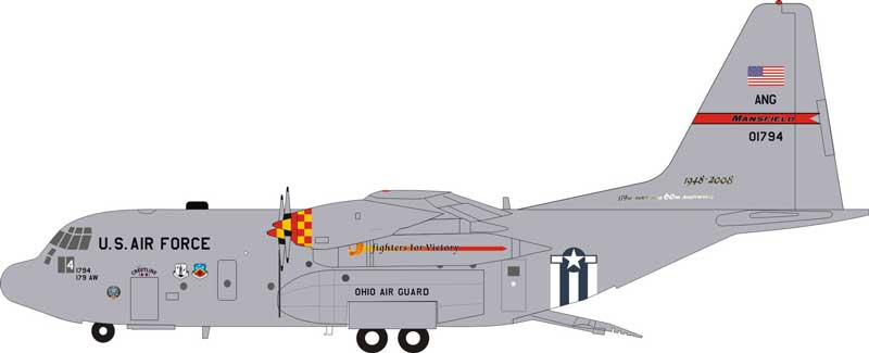 "US Air Force Lockheed C-130 90-1794 ""Fighters for Victory"" Mansfield Ohio Air National Guard (1:200) - Preorder item, order now for future delivery"
