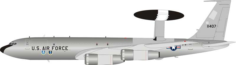 US Air Force Boeing E-3 Sentry AWACS (707-300) 71-1407 Polished (1:200) - Preorder item, order now for future delivery