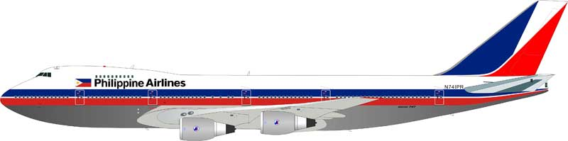Philippine Airlines 747-2F6B N741PR Polished, With Stand (1:200)