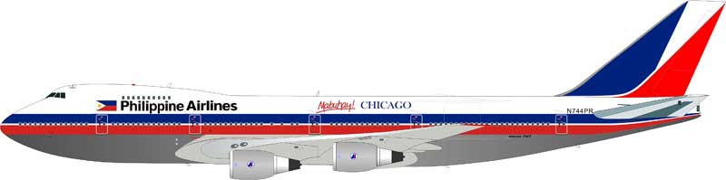 "Philippine Airlines 747-2F6B N744PR ""Mabuhay Chicago"" Polished, With Stand (1:200)"