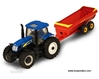 Ford New Holland T7070 w/ V-Tank Spreader Farm Tractor (1/64 scale diecast model tractor, Blue)