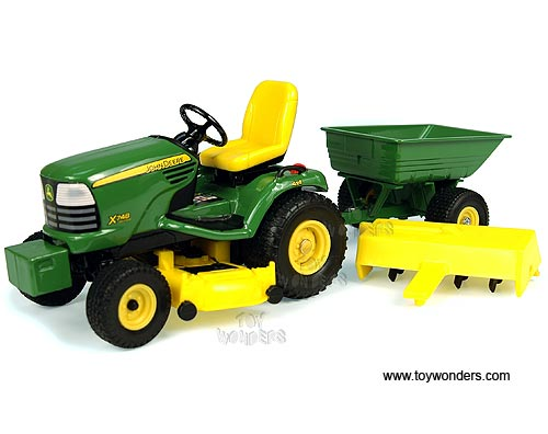John Deere X748 Lawn Tractor w/ Attachments (1/16 scale diecast model tractor, Green)