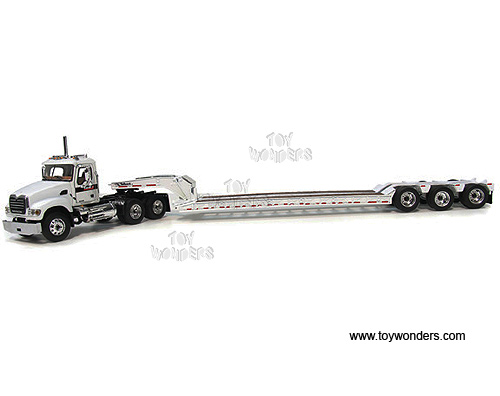 Mack Granite w/ Tri-Axle Lowboy Trailer (1:64) (White)