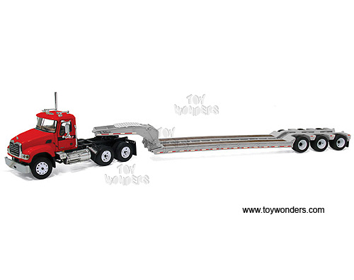 Mack Granite w/ Tri-Axle Lowboy Trailer (1:64) (Red)