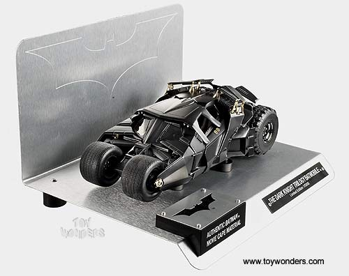 The Dark Knight Trilogy Batmobile w/ Authentic Batman Movie Cape Material (1/18 scale diecast model car, Black)