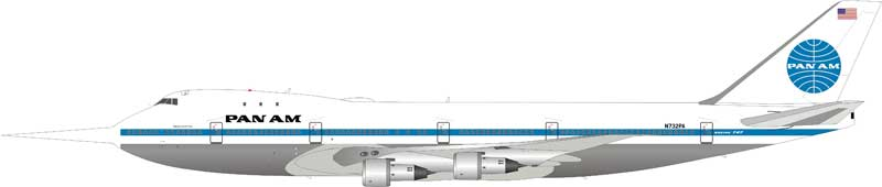 "Pan Am 747-100 N732PA ""Clipper Storm King"" N732PA (1:200) Includes 32 ft long probe used to measure wind gusts. - Preorder item, order now for future delivery"