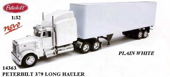 White Peterbilt 379 with White Dry Van Trailer (1:32)