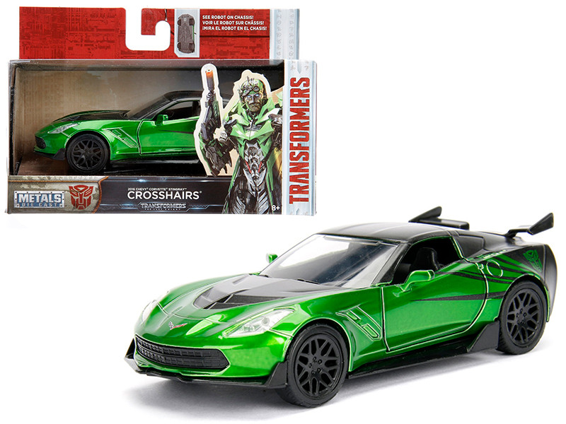 "2016 Chevrolet Corvette Crosshairs Green From ""Transformers 5"" Movie 1/32 Diecast Model Car by Jada"