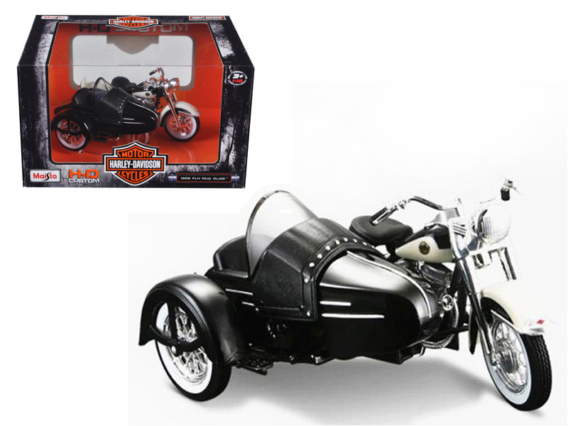 1958 Harley Davidson FLH DUO Glide with Side Car Black with White Motorcycle Model 1/18 Diecast Model by Maisto