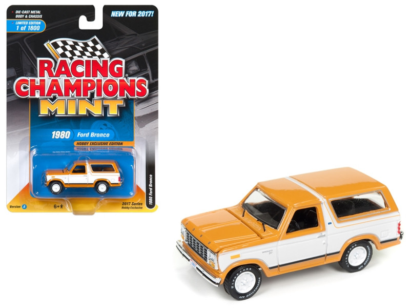 1980 Ford Bronco Bright Caramel with White Limited to 1800pc Worldwide Hobby Exclusive 1/64 Diecast Model Car by Racing Champions