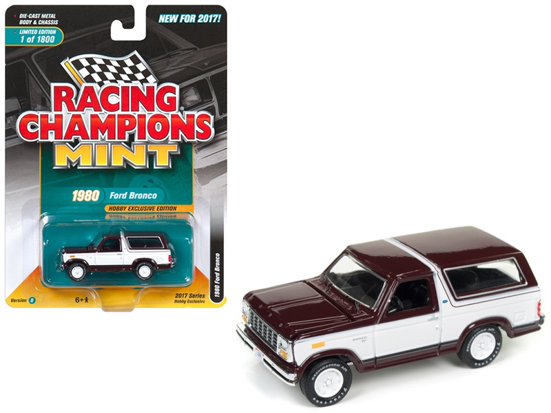 1980 Ford Bronco Maroon with White Limited to 1800pc Worldwide Hobby Exclusive 1/64 Diecast Model Car by Racing Champions