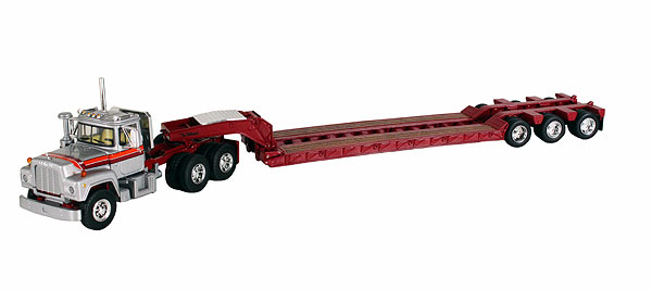 Mack R Model with Tri-Axle Lowboy Trailer (1:64)