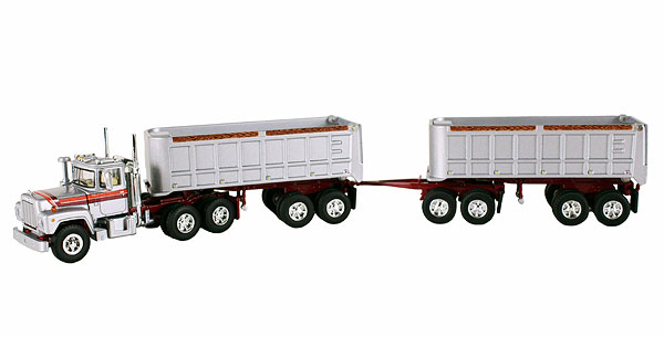 Mack R Model with 22' Dual End Dump Trailers (1:64)