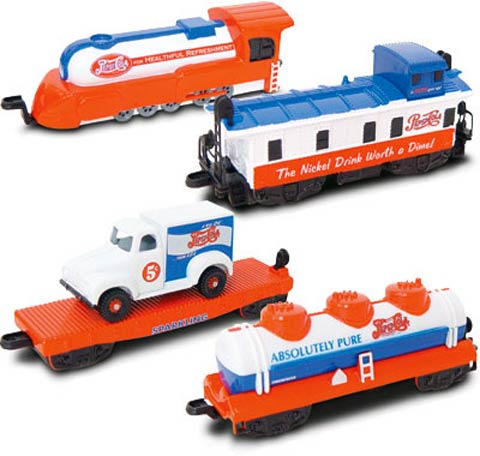 Pepsi 4-Piece Train Set engine flat car and