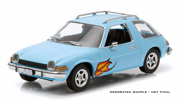 1977 AMC Pacer in Light Blue with Flames - Era-Themed Packaging (1:43)
