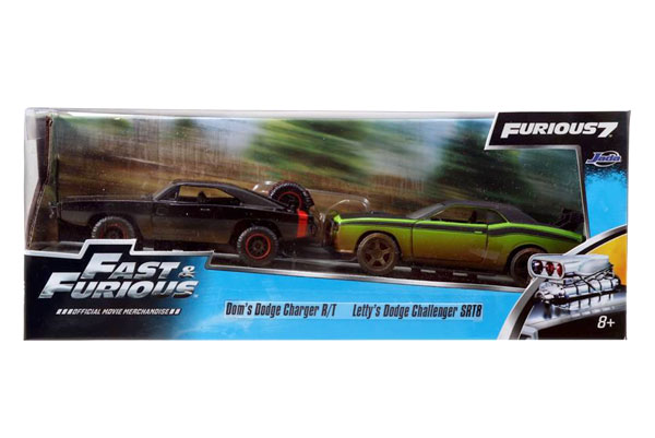 Dom's 1970 Dodge Charger Off-Road and Letty's Dodge Challenger Off-Road - Fast and Furious Twin Pack -Scale is approximate (1:32)