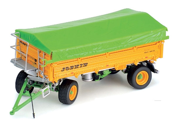 Joskin Tetra-Cap Dump Trailer <i>Features include: </i><br>Removable cover <br>Sides can be folded down or removed <br>Working hitch <br>Dump bed tilts <br>Diecast construction and rubber like wheels  (1:32)