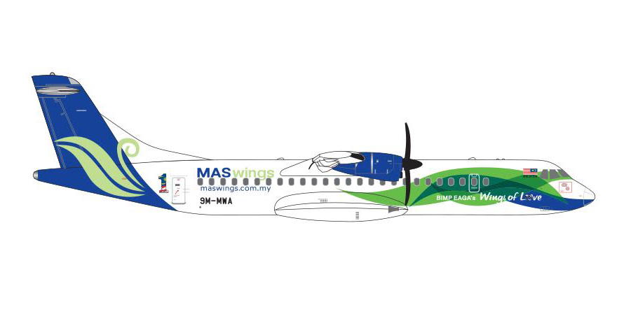 MAS Wings ATR-72-500 9M-MWA (1:400) - Preorder item, order now for future delivery