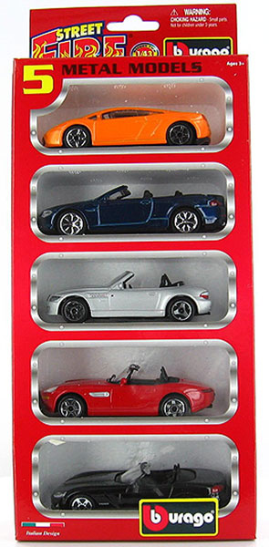 Street Fire 5-Pack Assortment - 5-Piece set of Automobiles<br> Models and colors will vary (1:43)