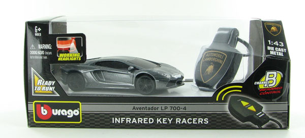Lamborghini Aventador LP 700-4 Infared-Controlled Racer in Metallic Gray Features working headlights!<br>Infared remote controls features forward and reverse turn movement (1:43)
