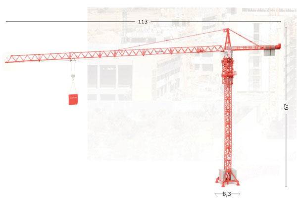 WOLFF 7532 Cross Tower Crane - High Detail This conventionally designed trolley-jib crane is one of WOLFFKRAN's largest. The maximum length of the jib is 75 meters at which length it can lift 2.9 tons. At its minimum length of 30 meters it can lift u (1:87)
