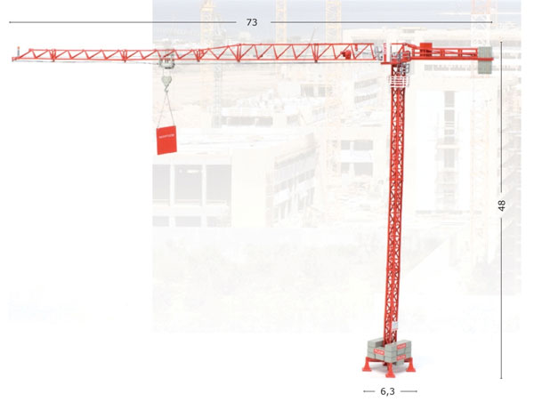 WOLFF 4517 City Tower Crane - High Detail As a crane made for smaller city projects the 4517 is WOLFFKRAN's smallest trolley-jib tower crane. The maximum length of the jib is 50 meters at which length it can lift 1 ton. At the minimum length of 17 me (1:87)