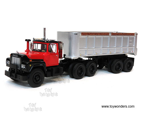 Mack R Model with 22' End Dump Trailer (1:64 scale diecast model car, Red:Silver)