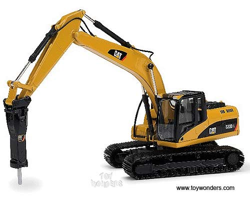 Cat 323D L Hydraulic Excavator w/ Cat H120E s Hydraulic Hammer (1/50 scale diecast model car, Yellow)