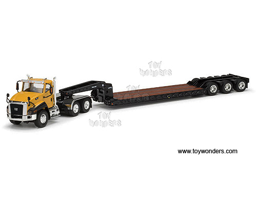 Cat CT660 Day Cab Tractor w/ Trail King Lowboy Trailer (1/50 scale diecast model car, Yellow)