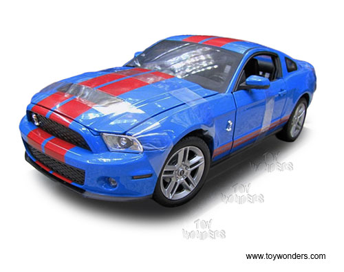 Ford Shelby GT500 Hard Top (2010, 1/18 scale diecast model car, Blue w/ Red Stripes) SC311BU