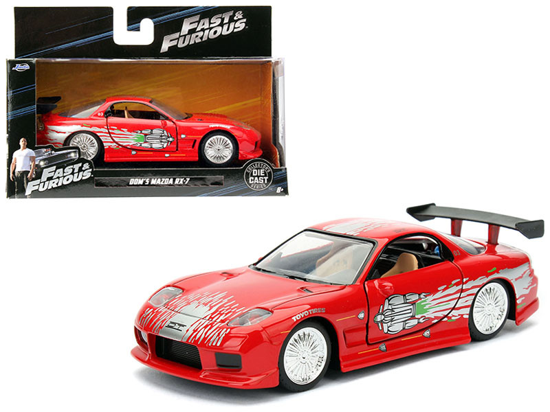 "Dom's Mazda RX-7 Red ""Fast & Furious"" Movie 1/32 Diecast Model Car by Jada"