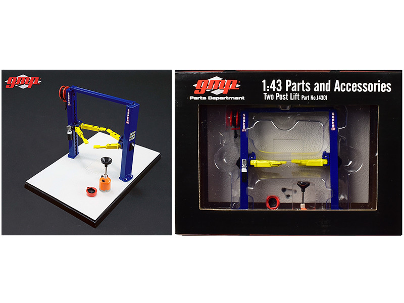 Two Post Lift Blue and Yellow For 1/43 Scale Diecast Model Cars by GMP