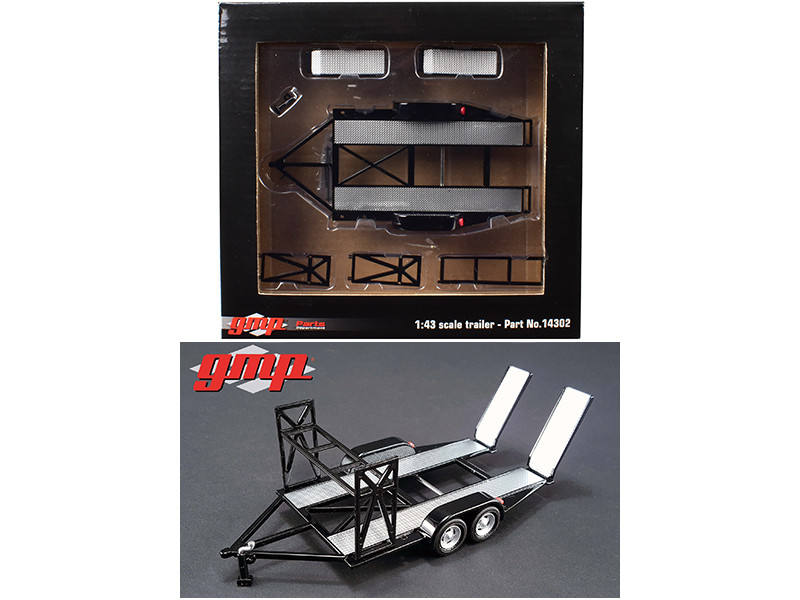 Tandem Car Trailer with Tire Rack Black For 1/43 Scale Diecast Model Cars by GMP