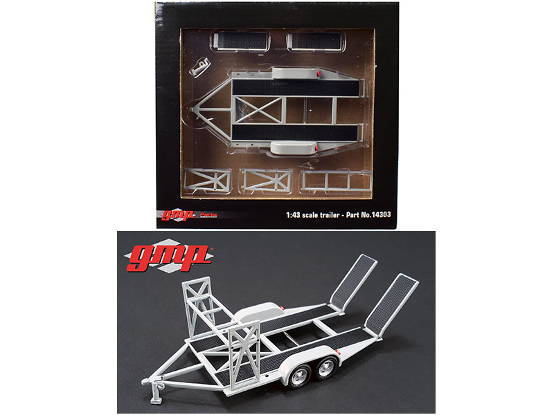 Tandem Car Trailer with Tire Rack Grey For 1/43 Scale Diecast Model Cars by GMP