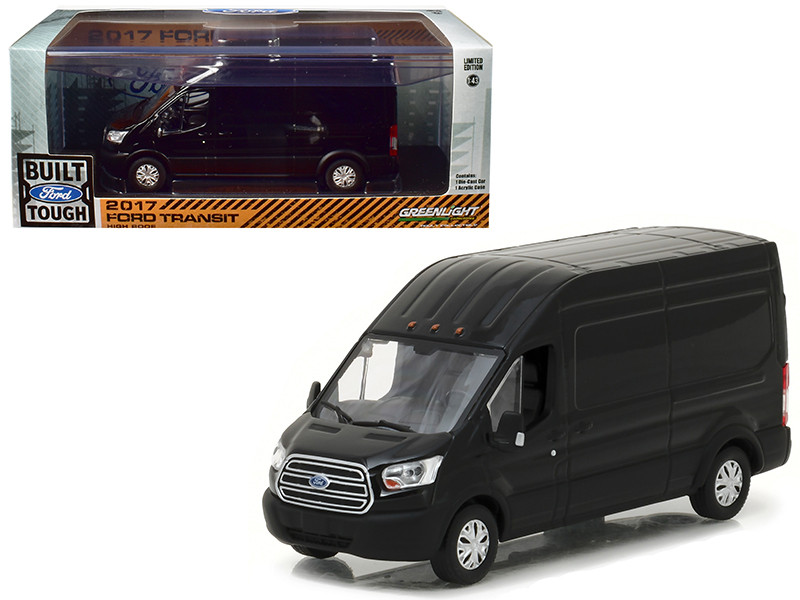 2017 Ford Transit LWB High Roof Black 1/43 Diecast Model Car by Greenlight