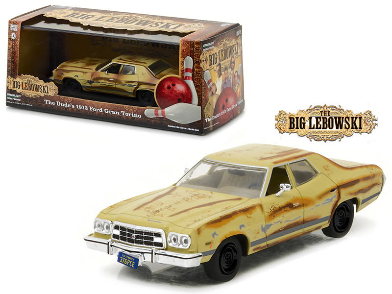 "The Dude's 1973 Ford Gran Torino ""The Big Lebowski"" Movie (1998) 1/43 Diecast Model Car by Greenlight"