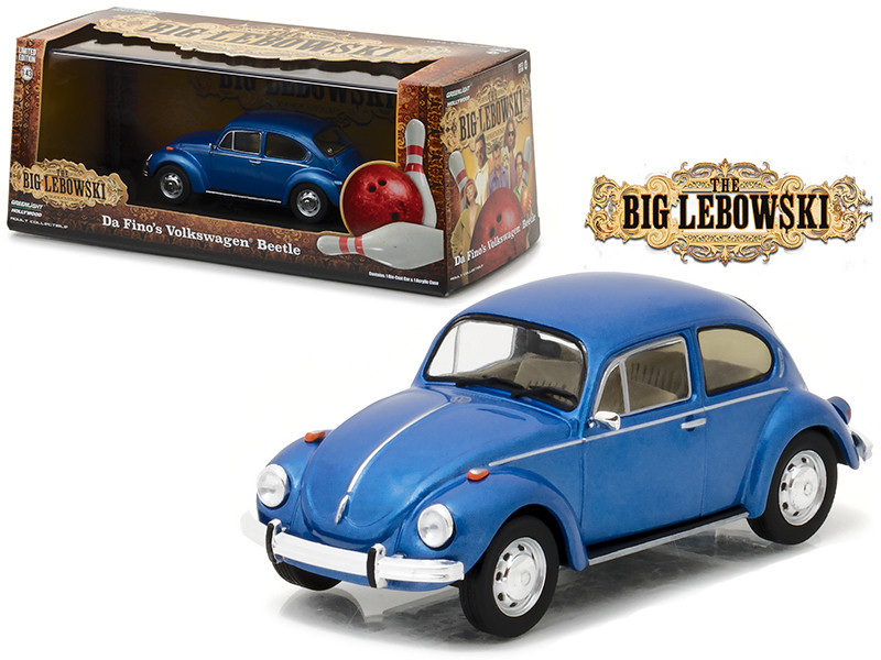 "Da Fino's Volkswagen Beetle Blue ""The Big Lebowski"" Movie (1998) 1/43 Diecast Model Car by Greenlight"