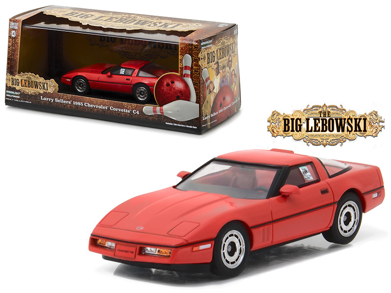 "Little Larry Seller's 1985 Chevrolet Corvette C4 Red ""The Big Lebowski"" Movie (1998) 1/43 Diecast Model Car by Greenlight"