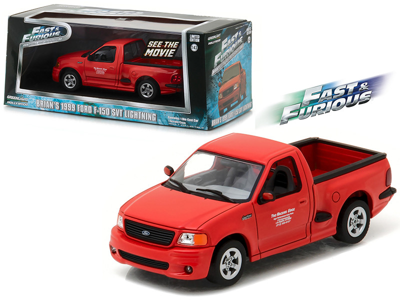 "Brian's 1999  Ford F-150 SVT Lightning Pickup Truck Red ""The Fast and The Furious"" Movie (2001) 1/43 Diecast Model Car by Greenlight"