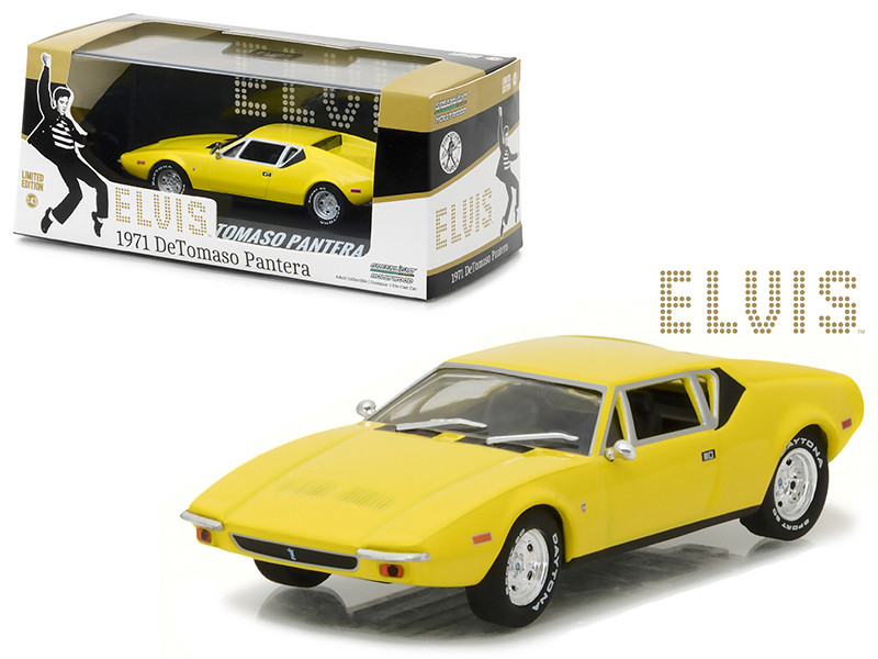 Elvis Presley's 1971 De Tomaso Pantera Yellow (1935-1977) 1/43 Diecast Model Car by Greenlight