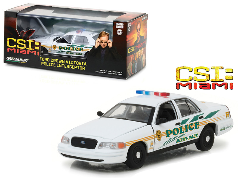Ford Crown Victoria Police Interceptor CSI Miami Dade Police Car (2002-2012) TV Series 1/43 Diecast Model Car by Greenlight