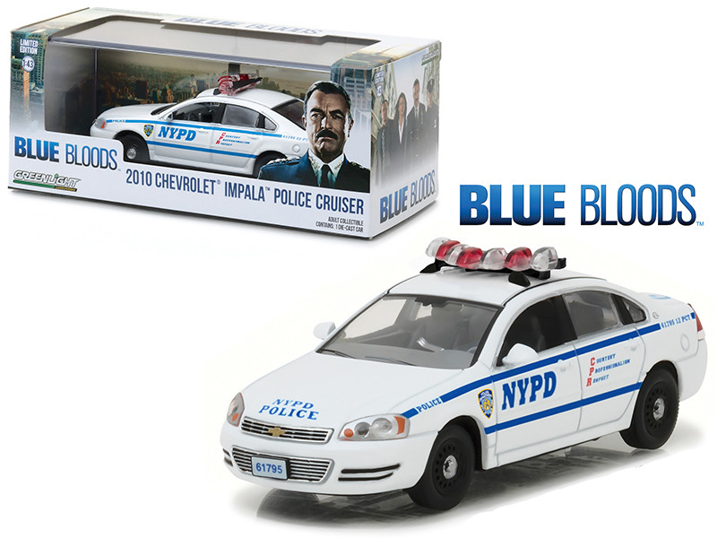 "2010 Chevrolet Impala NYPD New York Police Department Interceptor from ""Blue Bloods"" (2010-Current) TV Series 1/43 Diecast Model Car by Greenlight"