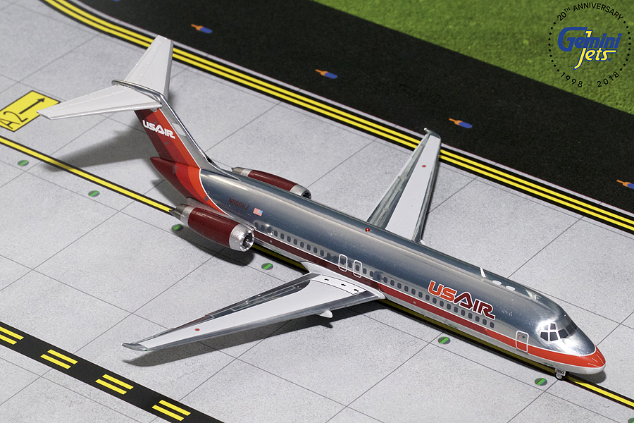 US Air DC-9-30 Maroon Livery, Polished N950VJ (1:200) - Preorder item, order now for future delivery