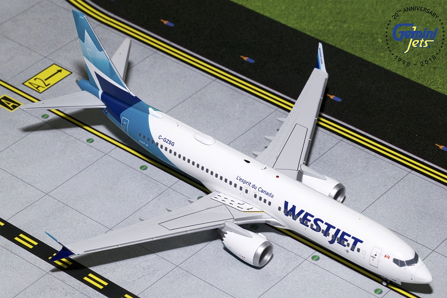 Westjet B737 MAX-8 New Livery C-GZSG (1:200) - Preorder item, order now for future delivery