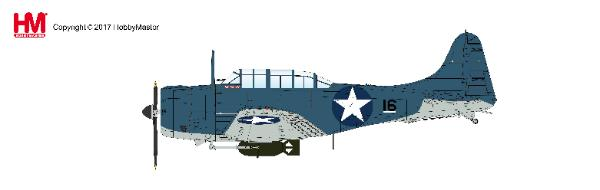 "Douglas SBD-3 ""Dauntless"" BuNo 3315, Black 16 of Scouting 71 ""VS-71"",  USS Wasp (CV-7), August 1942 (1:32) - Preorder item, order now for future delivery, Hobby Master Diecast Airplanes Item Number HA0210"