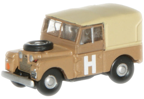 "Land Rover Series I, 88"" Canvas, British Army Desert Camouflage, 1950s (1:148 N Scale) by Oxford Diecast Military Vehicles"