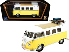 1962 Volkswagen Microbus with Roof Rack and Luggage Yellow and White 1/18